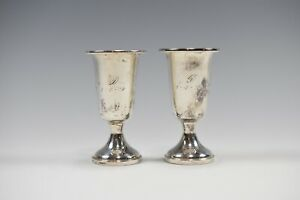 Towle Sterling Silver 58 Cordial Weighted Fluted Cups Set Of 2