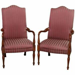 Pair Of Vintage English Style Lolling Chairs Upholstered Mahogany Armchairs