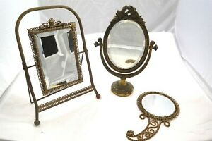 3pc Vintage Brass Mirror Lot Vanity Dresser Table Top