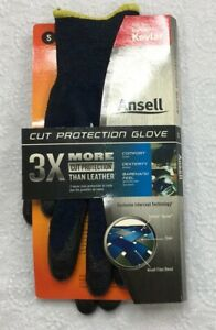 Ansell Cut Protection Dupont Kevlar Glove Cut Resistant Blue Black S Small New