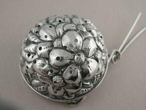 Antique Sterling Silver Tea Strainer W Floral Repousse