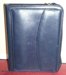 Franklin Covey Blue Classic Planner 7 Ring W Snap Pocket Full Grain Leather
