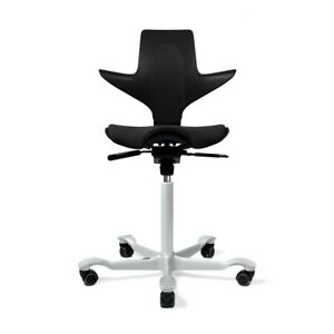 New Fully Capisco Puls Ergonomic Office Chair By Hag Full Black With Silver Base