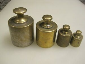 4 Vintage Brass Scale Mercantile Weights 1kilo 100 Grams B9792