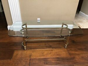 Vintage Hollywood Regency Mid Century Brass Finish With Glass Top Coffee Table