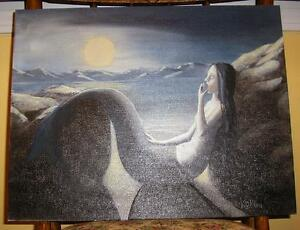 MERMAID NIGHT BEACH SEASHORE FULL MOON SEASHORE NAUTICAL OCEAN SAND SKY PAINTING