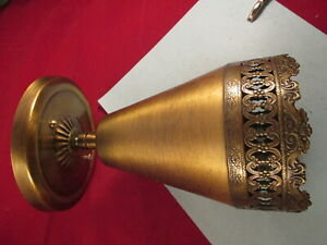 Vintage Gold Metal Electric Cone Wall Light Sconce Mid Century Modern