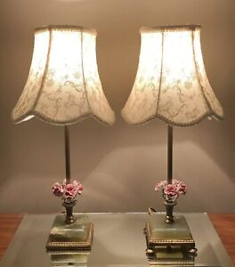 Vintage Italian Tole Lamps Pair Of 2 Green Jade Base Pink Flowers With Shades