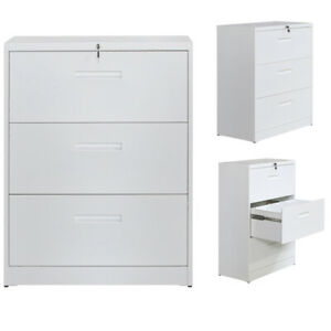 Trexm Lateral File Cabinet Lockable Metal Heavy Duty 3 Drawer File Cabinet