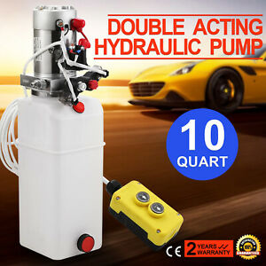 New Double Acting Hydraulic Pump 12v Dump Trailer 10 Quart Reservoir
