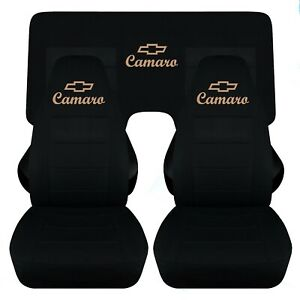 Front And Rear Seat Covers In Black With A Tan Design And Stitching 94 01 Camaro