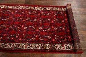 Vintage All Over Red 10 Ft Runner Malayer Oriental Rug Hand Made Wool 4x10
