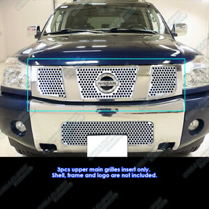 Fits 2004 2007 Nissan Titan armada Stainless Steel Punch Grille Grill Insert