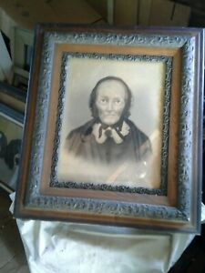 Victorian Eastlake Oak And Gesso 4 Part Frame With A Painted Portrait Of A Lady