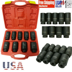 9pc 6 Sided Deep Impact Socket Set 1 2 Drive Metric Axle Hub Nut Socket 29 38mm