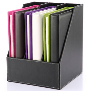 3 Compartment Leather Document File Organizer Rack Magazine Holder Storage Box