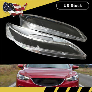 Pair For Mazda 6 2003 2008 Replacement Headlight Headlamp Lens Cover Lampshade