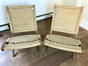 Pair Of Mid Century Modern Hans Wegner Style Rope Folding Chairs