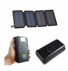 20000mah Kyng Solar Charger Power Bank Qi Wireless Phone Charger 2 Usb Led Light