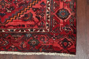 Antique Geometric Tribal Hamadan Area Rug Hand Knotted Oriental Wool Carpet 4x6