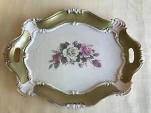 Toleware Tray White Pink Roses Gold Trimmed 14 1 2 X 10 1 2