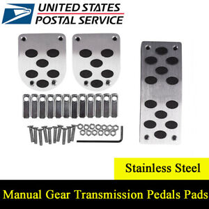 3pcs Universal Manual Gear Transmission Pedals Pads Car Gas Brake Pedal Non Slip
