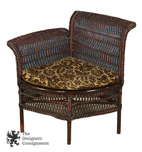 Heywood Brothers Co Antique 19th C Victorian Wicker Parlor Corner Chair Seat