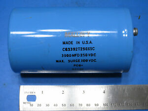 Mallory Cgs392t250x5c Large Can Screw Term Electrolytic Capacitor 3900uf 250v
