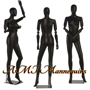 Female Mannequin Full Body Flexible Articulate Arms High End Black Manikin