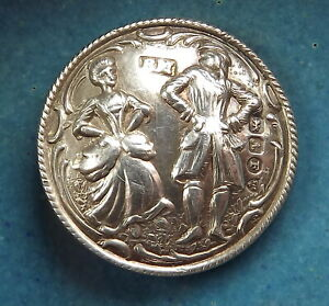 1902 Solid Sterling Silver Button Victorian Dancing Couple Bbb One Inch