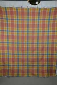 Blanket Wool Plaid Pink Blue Yellow 66 X 80 Lodge Camp Antique 1900