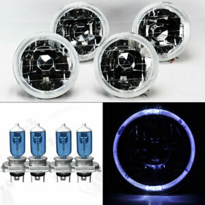 Four 5 75 5 3 4 Round Clear Glass White Halo Headlights W Bulbs Set Conversion