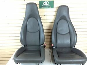 Porsche 997 987 Boxster Cayman Grey Leather Seat Set 010 Bag Blown Use For