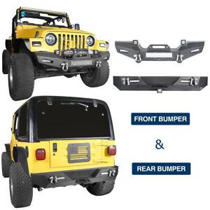 For 97 06 Wrangler Jeep Tj Front Rear Bumper Bar W Winch Plate Textured