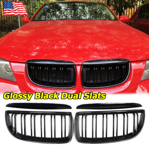 For 05 08 Bmw E90 3 series E91 4door Front Kidney Grille Gloss Black Dual Line