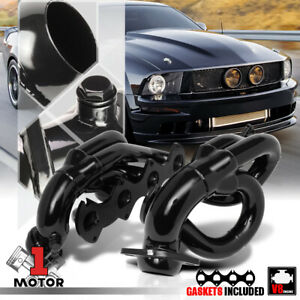 Black Painted Shorty Exhaust Header Manifold For 05 10 Ford Mustang 4 6 281 V8