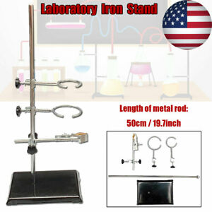 50cm Lab Stands Bracket Retort Support Platform Clamp Flask Experiment Fixing Us