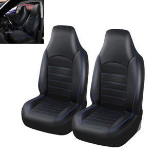 Black Blue Car Front Bucket Seat Covers Set Auto Dust Protector 2 Pack Universal