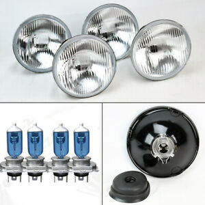 Four 5 75 5 3 4 Oe Style Round H4 Glass Headlight Conversion W Bulbs Set Ford