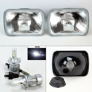 7x6 Oe Style Glass Headlight Conversion W 6000k 36w Led H4 Bulbs Pair Plymouth