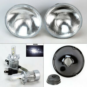 7 Round Oe Style Glass Headlight Conversion W 6000k 36w Led H4 Bulbs Pair