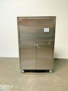 Mobile Stainless Steel Storage Cabinet On Casters 48 X 18 X 78
