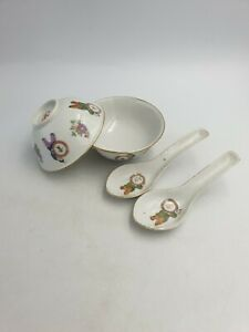 Vtg Chinese Porcelain Rice Soup Bowls Spoons Various Boys Holding Signs 4pc Set