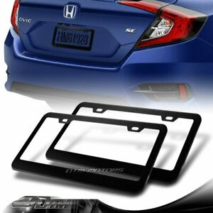 2 X Black Aluminum Alloy Car License Plate Frame Cover Front Or Rear Us Size New