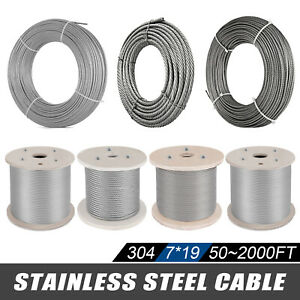304 Stainless Steel Cable Wire Rope 7x19 Commercial Winch Lifting Winch Marine