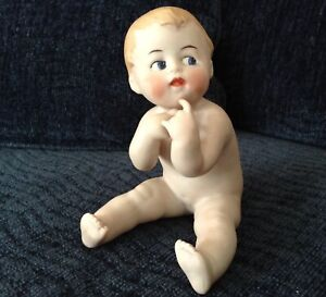 Antique German Character Piano Baby Hp Bisque Porcelain Figurine Marked Euc