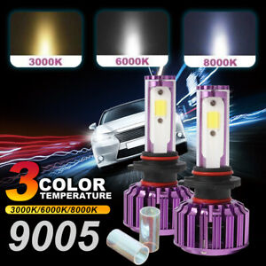 3000k 6000k 8000k 9005 Led Headlight Headlamp Bulb 60w Yellow White Blue Light