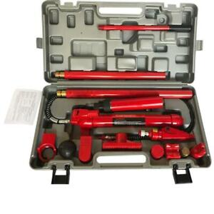 10 Ton Hydraulic Jack Autobody Frame Porta Power Repair Ram Lift Tool Kit