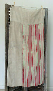 Antique Vintage French Linen Striped Ticking Fabric Rustic Timeworn Sack