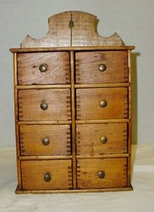 Antique Primitive Wooden Spice Cabinet Box Apothecary Chest 8 Dovetail Drawers
